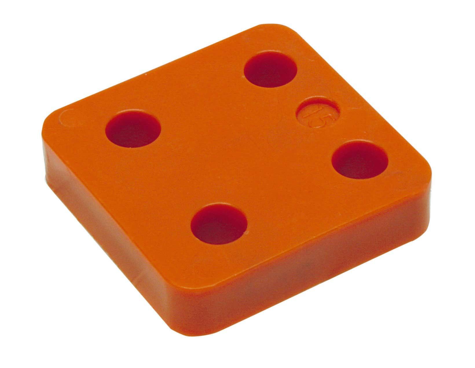 Drukplaat zonder sleuf oranje 15 70x70 KS